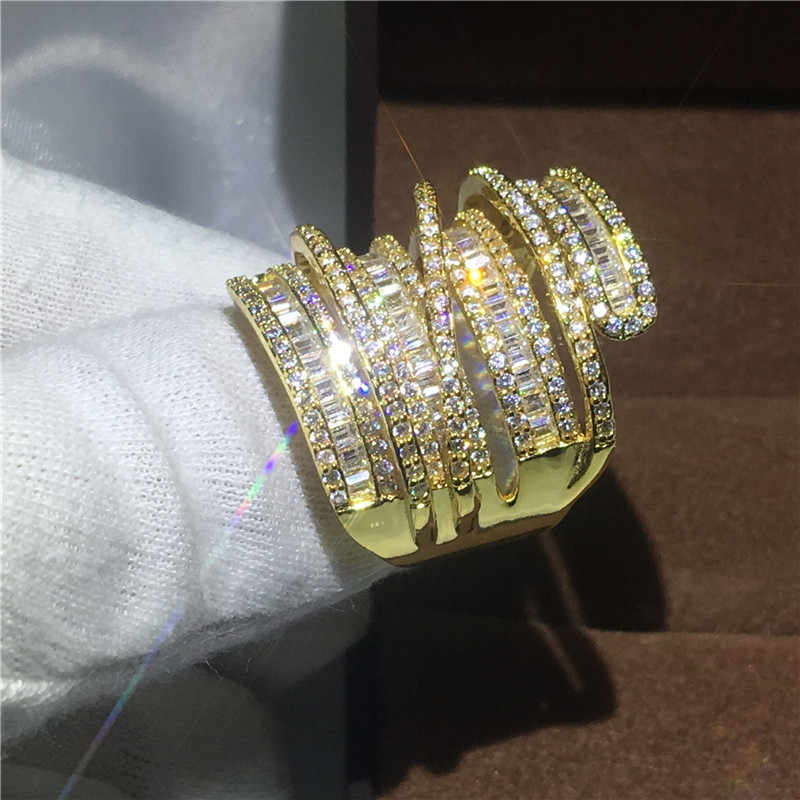Роскошное большое кольцо с желтым золотом, обручальное кольцо, кольца для женщин, Т-образная форма, AAAAA, циркониевый кристалл, 925 серебро, бижутерия, подарок