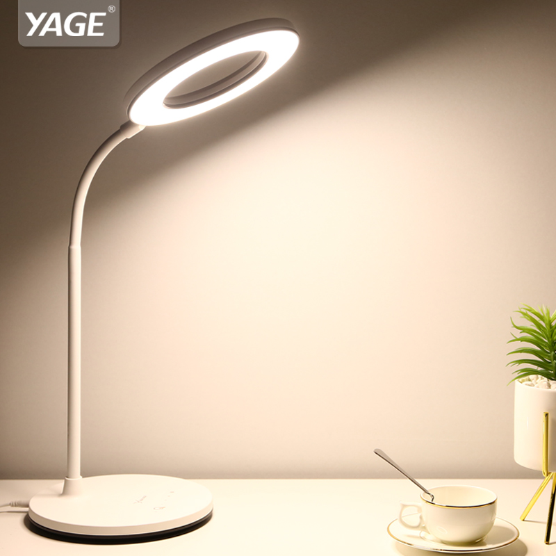 YAGE 1200mAh Battery Ring White Warm Nature Light Led Table Lamp USB Desk Lamp Stepless Dimming Touch Desk Light Hose Table Lamp