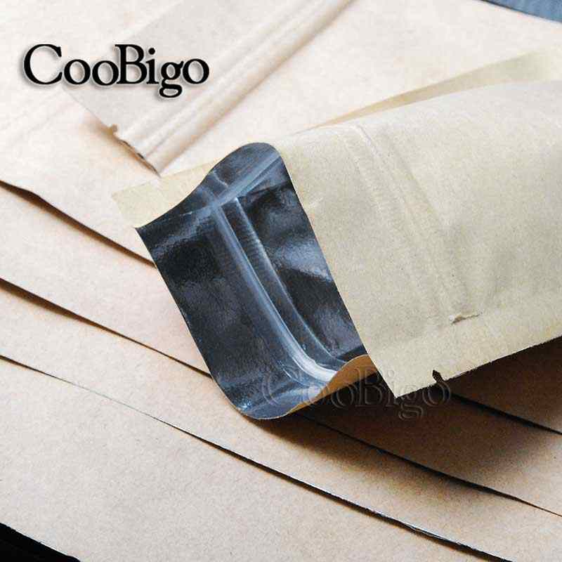 1pcs Heat Seal Flat Type Valve Ziplock Kraft Paper Pack Bags W/ Frosted Candy Biscuit Doypack Zipper Storage Pouch