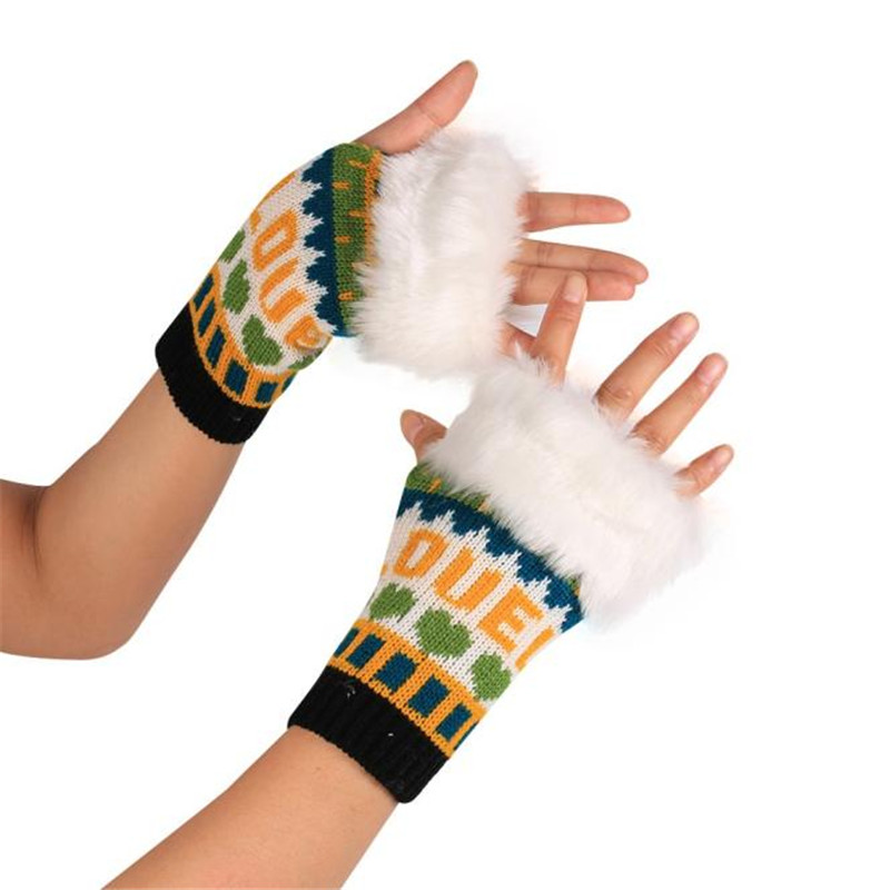 2533 moda color de punto piel artificial decration Guantes brazo  fingerless invierno Guantes unisex Soft warm mitten d45 22cbe810039