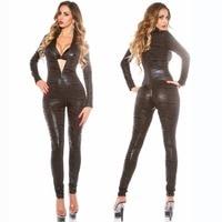2017 New Design Women's Shiny exotic Teddy 2way zipper open crotch bodysuit leather catsuit Stripper Clubwear