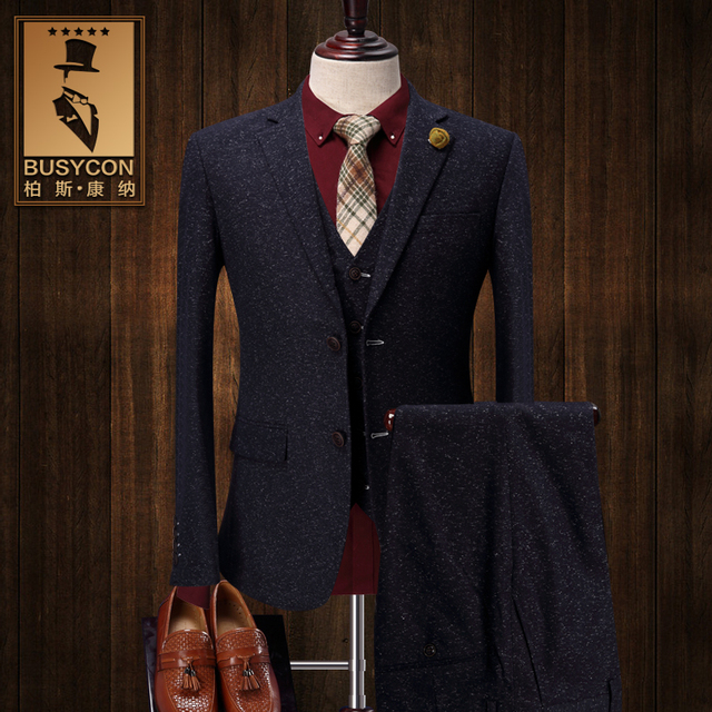 Vintage Thick Christmas Tweed Suit Men Slim Fit Grey Tuxedo Wedding Groom Herren Anzug Terno Mens