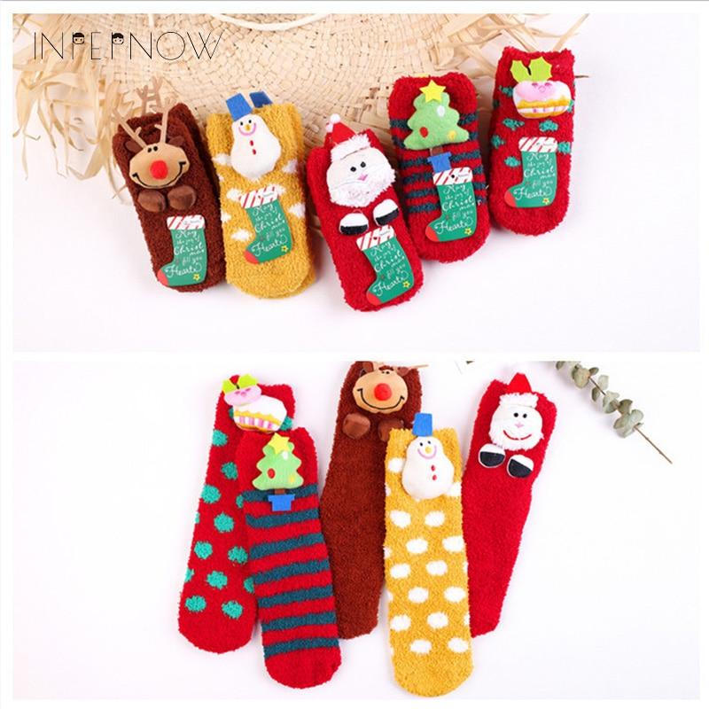 2019 Christmas Kids Warm Socks Snowflake Deer Santa Claus Bear Printed Cotton Baby Xmas Gift Cute Jacquard Sock Parent-chil