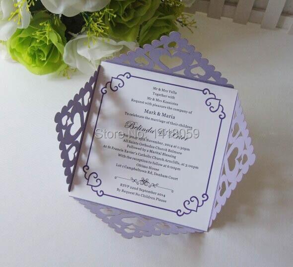 Sample personalized luxury customized acrylic wedding invitation 50pcs hot penjualan potong laser mutiara ungu disesuaikan cinta hati undangan pernikahanulang tahun stopboris Gallery