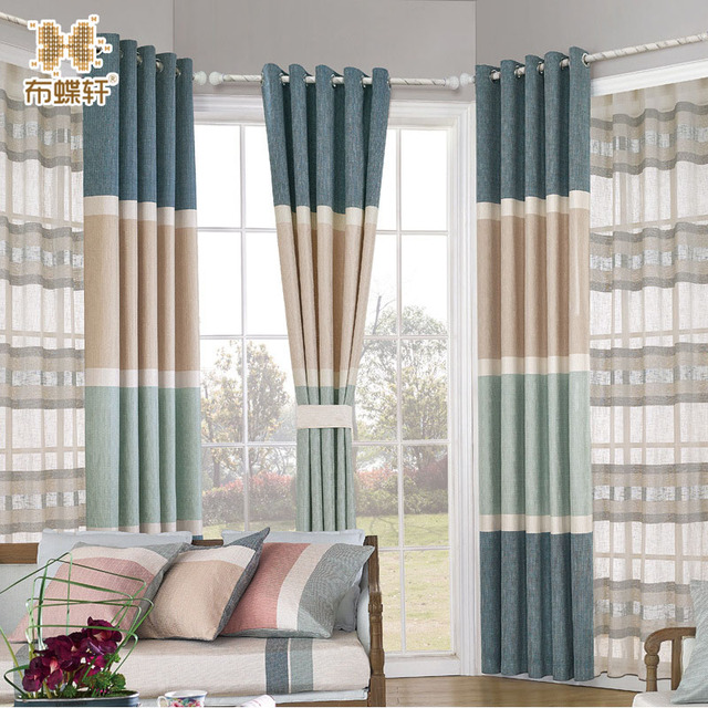 Simple Living Room Curtains Light Blue Luxury Modean North European Style Curtain Striped Blind For Study Fashion Pink