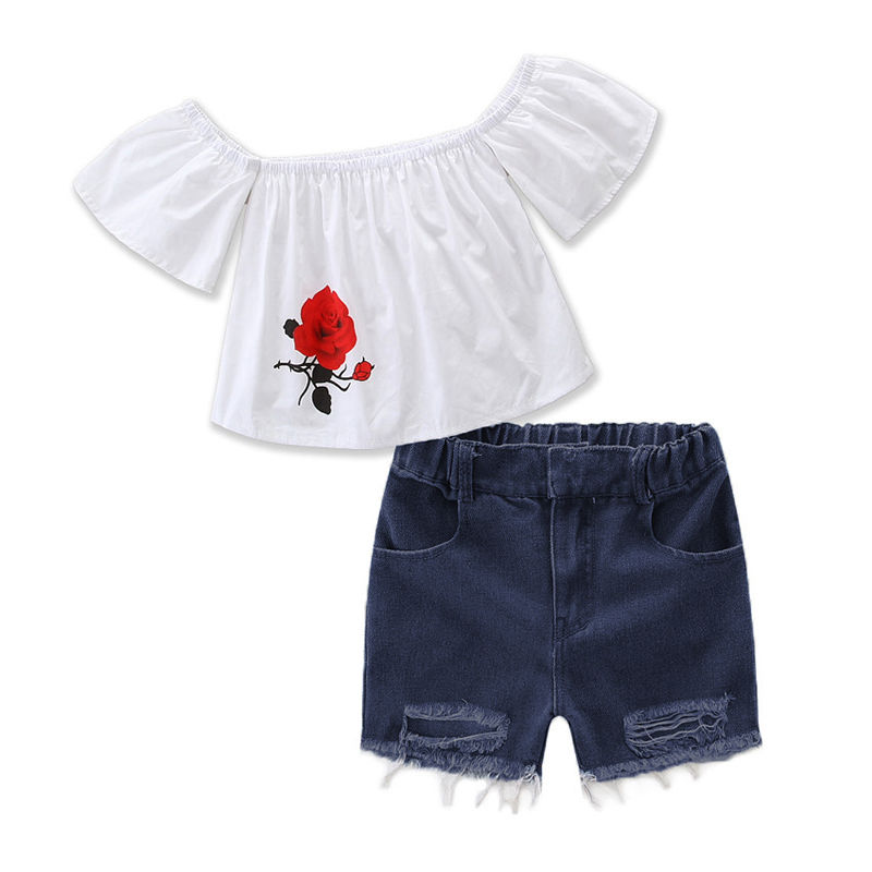 2017 New 2Pcs Cute Kid Toddler Baby Girl Off shoulder T-shirt Tops Shirt+Shorts Pants Jeans Clohtes Set 2017 cute kids girl clothing set off shoulder lace white t shirt tops denim pant jeans 2pcs children clothes 2 7y