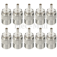 10pcs Connector UHF Male PL259 Plug Solder RG8 RG213 LMR400 7D FB Cable Silver