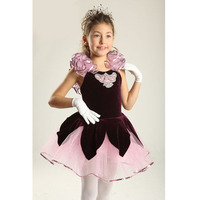 Flower Sleeve Purple Velvet Top Professional Ballet Tutu For Adult Or Children Pretty Classical Dance Dress