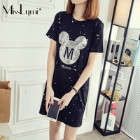 M 4XL Plus Size Women T Shirt Dress 2017 Summer Cartoon Mickey Sequins Embroidery Ink Print