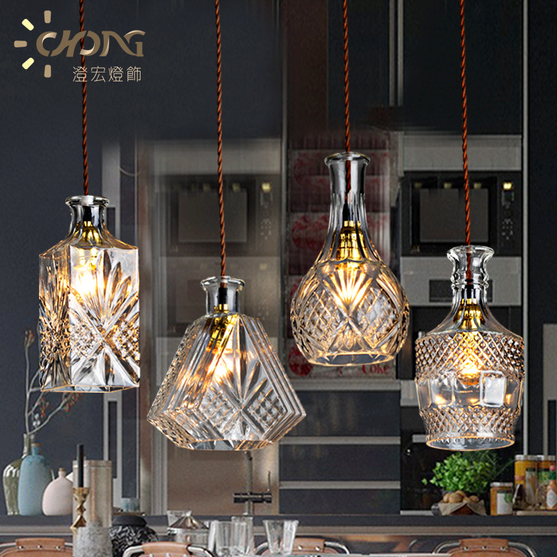 Crystal droplight, creative restaurant cafe bar counter contracted bottle lamp droplight with personality european restaurant bar counter personality single head droplight creative crystal glass chimney droplight sitting room