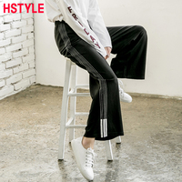 HSTYLE Spring New Loose Elastic Pants For Women Casual Baggy Striped Patchwork Solid Color High Waist