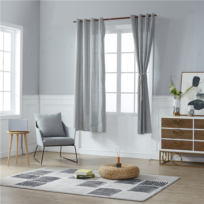 Modern Nordic hook Windows Curtain Grey Geometric home decoration coffee shop window Panel 140x220cm