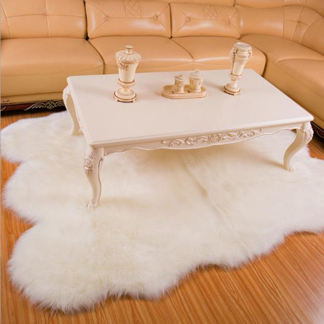 Us 98 0 30 Off Large Sheepskin Rug White Fur Carpet For Living Room Bedroom Faux Rugs Seat Pad Plain Fluffy Soft Area Tapetes In