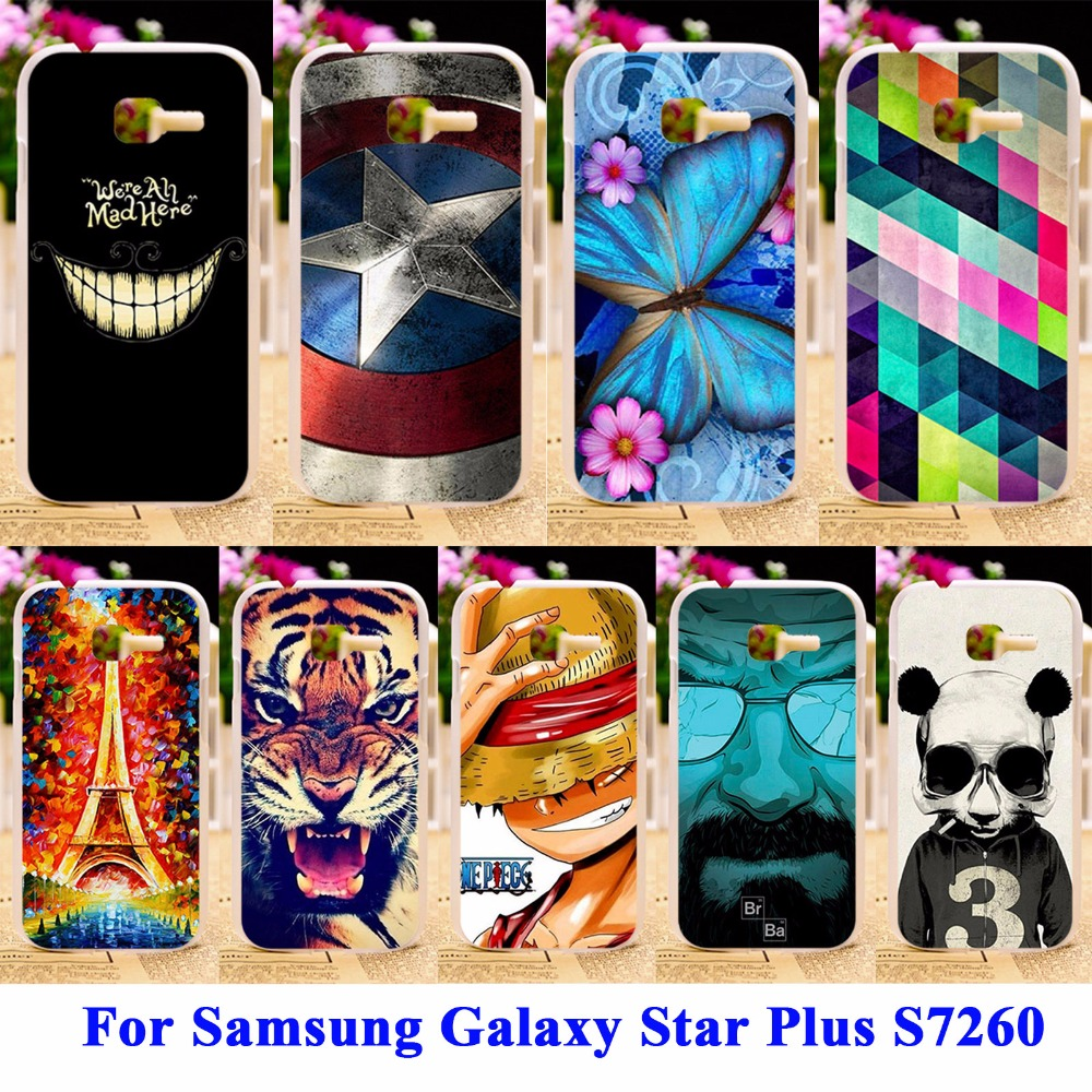 Panda Tiger Cat Painted Phone Cases Covers For Samsung Galaxy Star Plus S7260 Shell Cover S7262 Pro GT-S7262 i679 Housing Bags