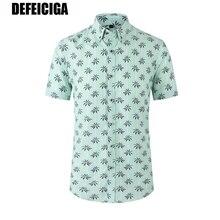 2019 DEFEICIGA  Hawaiian Men Shirt Brand Floral Print Mens Summer Shirts Streetwear Loose Casual Short Sleeve D001