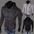 Hot sale!hoodies 2014 new style Korean Slim Multi zipper 3 colors size M-XXL hooded and open stitch free shipping PW02
