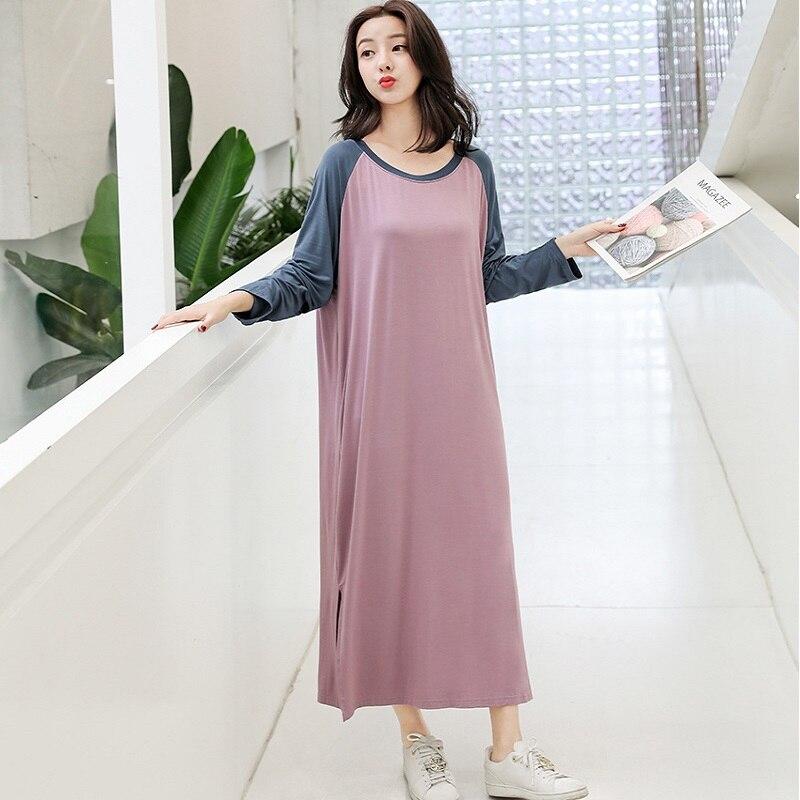 Women   Sleepshirts   Patchwork Sleepwear Summer Spring Long Sleeve Cool Modal nightdress Ladies Long Dressing   NightGown   Big OneSize