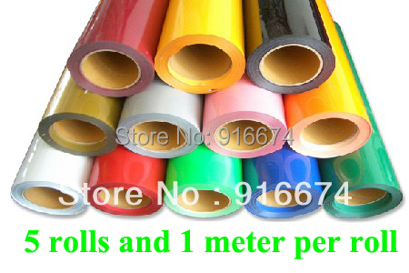 Fast Free shipping DISCOUNT 5 pieces 20x3' (50x100cm per roll) heat transfer PU vinyl heat press cutting plotter avr sx460 5 pieces sx460 free shipping
