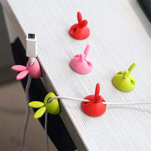 SIANCS 2pcs Kawaii Rabbit Earphone Cable Winder USB Cable Ties Organizer Wire Cord Fixer Clip Bobbin clamp protector(China)