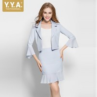 Office Lady Business Skirt Suit Ruffles A Line Skirts Short Blazer Jacket Slim Fit Two Piece Set Work Formal Outfits OL Uniform