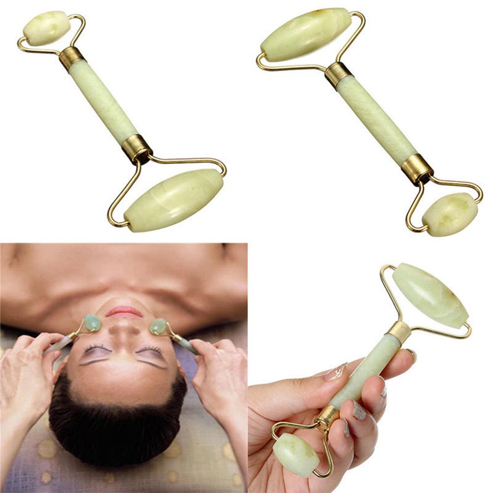 Natural Facial Beauty Double Head Jade Face Massage Face Roller Anti Aging Facial Eye Neck Body Beauty Tool Natural Jade Massage