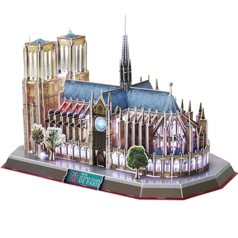 Classic Jigsaw Puzzle Architecture City Voice control LED Notre Dame Construction Brick Toys Scale Models Sets