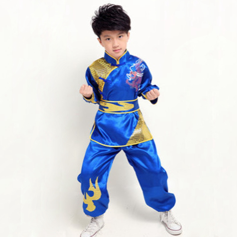 Top Selling Chinese Wu Shu Clothing Children Martial Arts Uniform Long Sleeve Kung Fu Costume Tops+Pants+Belt Yellow/Blue