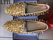 LTTL New Factory Customized Men Luxury Shinny Glitter Gold and Silver Spikes Shoes Slip On Loafers Rivets Men Casual Shoes