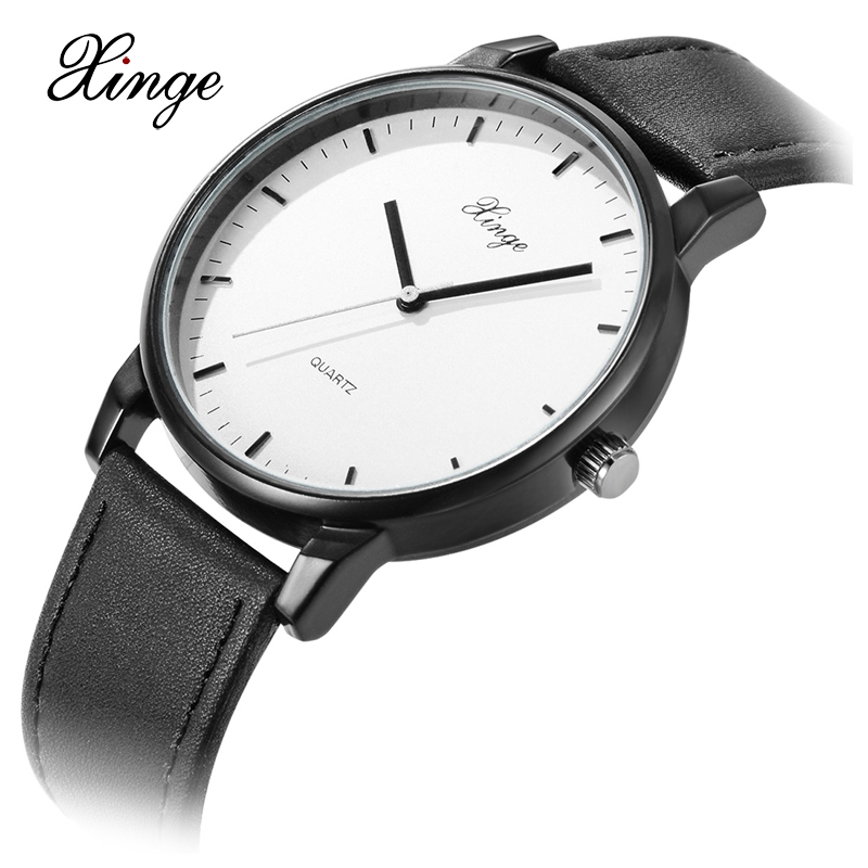 2017 Men Xinge Brand Business Simple Quartz Watches Luxury Casual Leather Strap Clock Dress Male Vintage Style Watch XG1087 xinge brand fashion women quartz wrsit watches clock leather strap business watch ladies silver luxury female sport womens watch