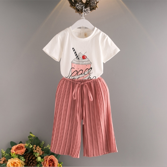 Princess Suits 2017 summer Girls Kid Icecream Printed T Shirts+ Pleated Pants comfortable cute baby Clothes Children Clothing