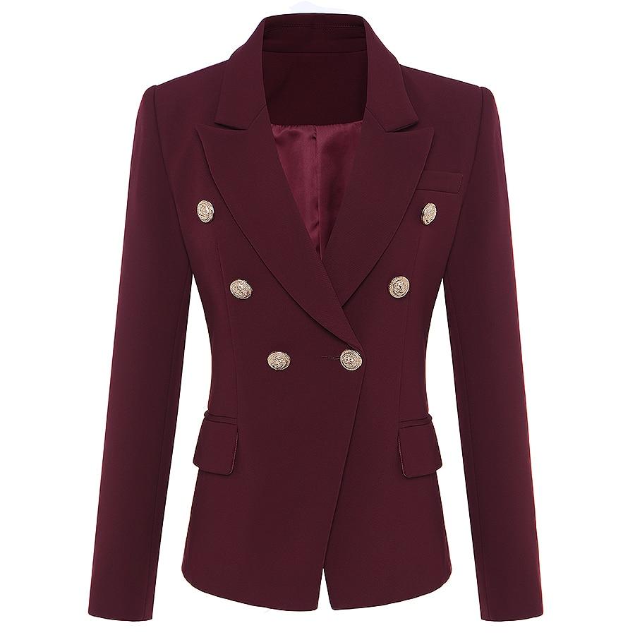 Высокое качество New Star Мода 2018 Дизайнер Блейзер Для женщин металла лев Пуговицы двубортный Блейзер Куртка внешний слой