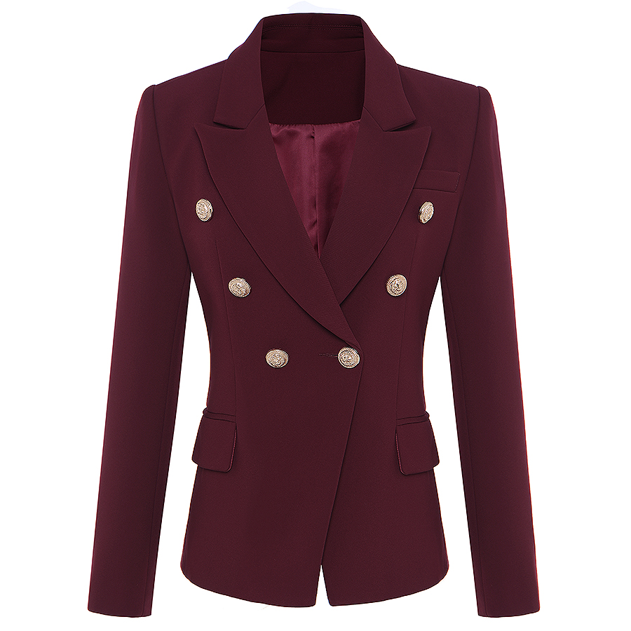 HIGH QUALITY New Star Fashion 2019 Designer Blazer Women's Metal Lion Buttons Double Breasted Blazer Jacket Outer Coat