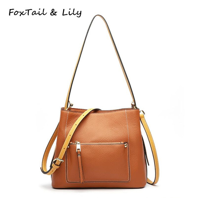 36d4fc0061 FoxTail   Lily Genuine Leather Women Bucket Shoulder Bag Real Leather Tote  Crossbody Bags Luxury Brand