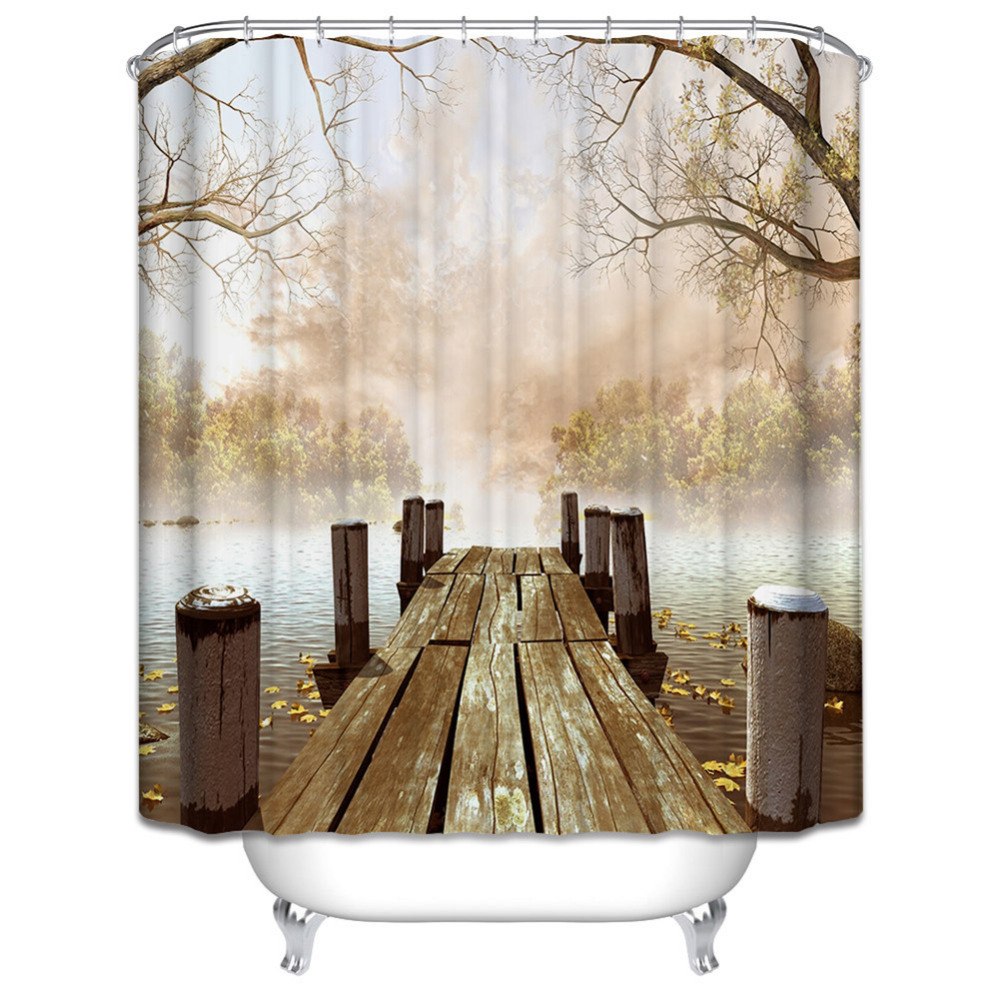 Waterproof Polyester Yellow Shower Curtain Fall Wooden Bridge Lake Nature Country Rustic Curtains Bathroom Decor Bath