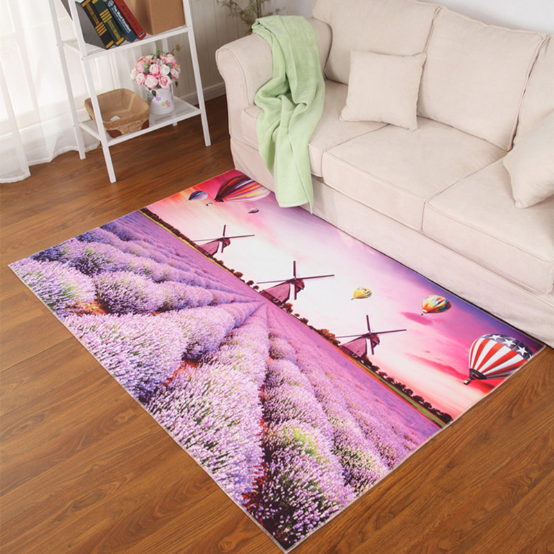 Pastoral Style Rugs and Carpet 3D Scenery Printed Mats Absorbent Non ...