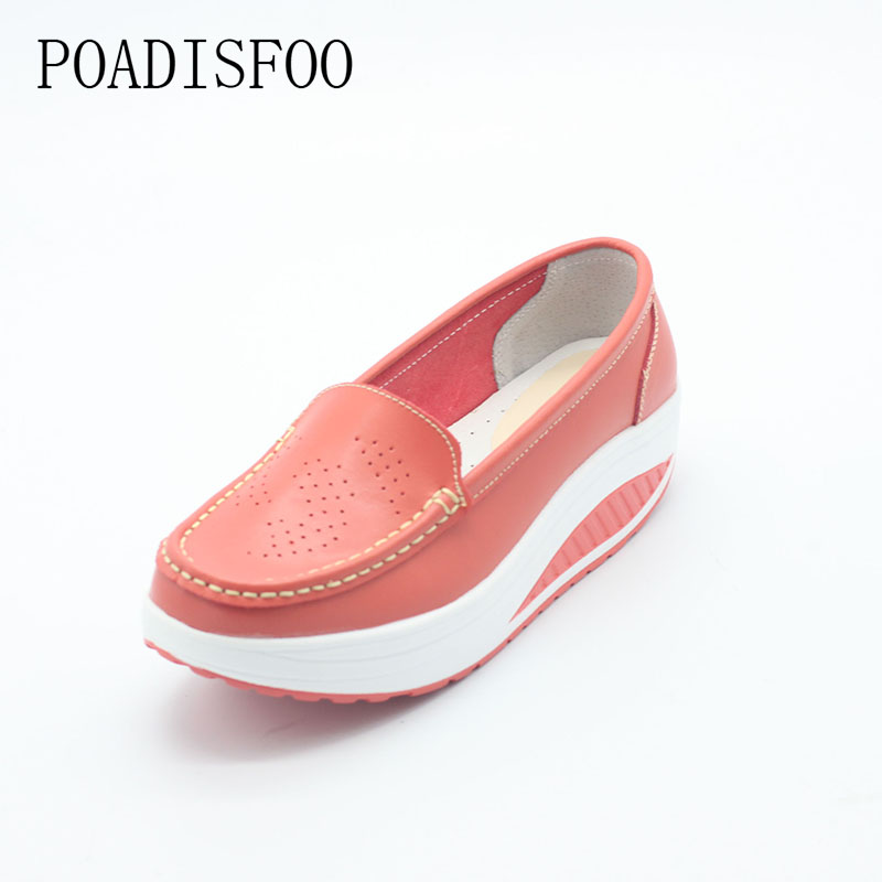Genuine Leather Women's Fashion Wedges Shoes Casual Platform Shoes Women Flower Print Plus Size Cow Leather shoes .SPP-8012
