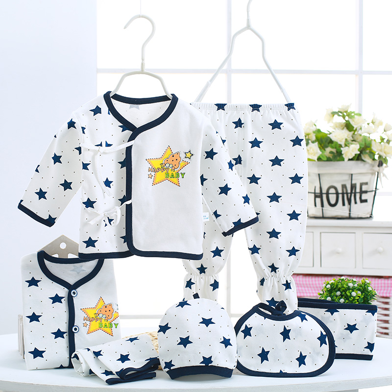 Autumn Newborn Clothing Sets 7pces/set Baby  Children Clothes Baby Boys Girls Clothes Set Cotton Print stars Baby Suit Infantil malayu baby kids clothing sets baby boys girls cartoon elephant cotton set autumn children clothes child t shirt pants suit