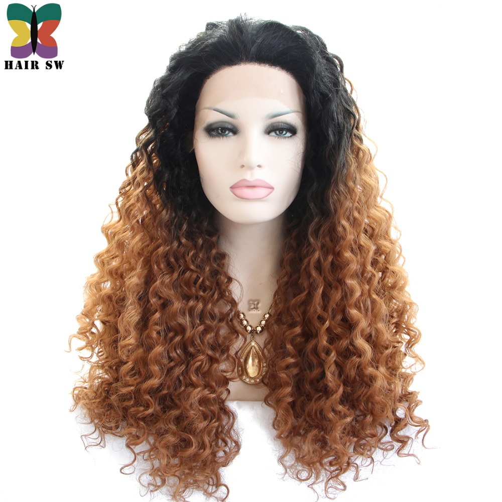 HAIR SW Long Deep Wave Lace Front Wig Synthetic Auburn Ombre With Dark Root Layers Free
