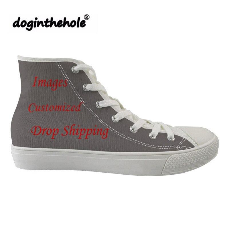 Doginthehole Image personnalisée Logo homme chaussures de course Sport appartements femmes baskets pour filles haut haut Gym chaussures confortable toile chaussure