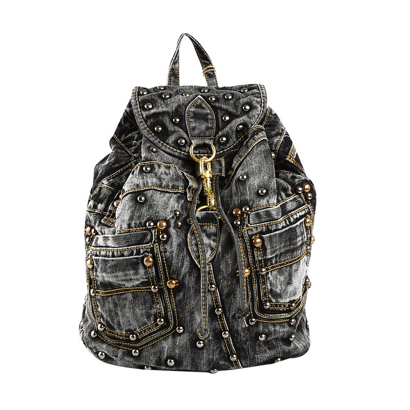 Drawstring women backpack high quality jeans cloth leisure backpack fashion rivet large capacity travel backpacks