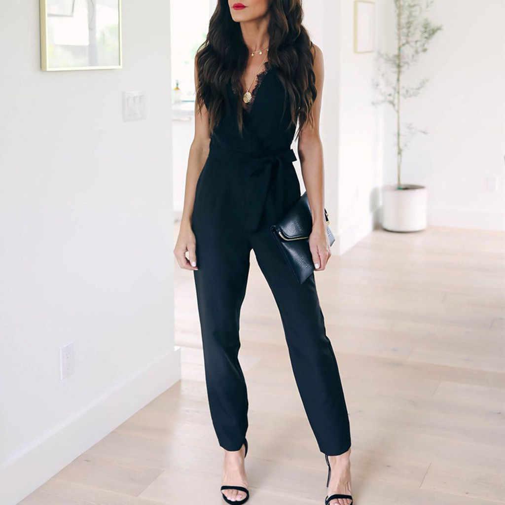 ผู้หญิงแฟชั่นฤดูร้อน Elegant กระเป๋าลูกไม้ V คอแขนกุด Rompers Jumpsuit Playsuit Monos Largos Mujer Pantalon Largo 50
