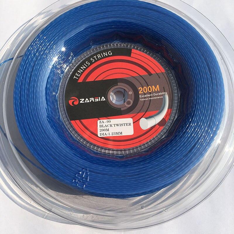 2017 nouvelle couleur bleu 1 rouleau ZARSIA Hexaspin twister polyester cordes de tennis 1.23mm 16G sensation dure ficelle 200 m