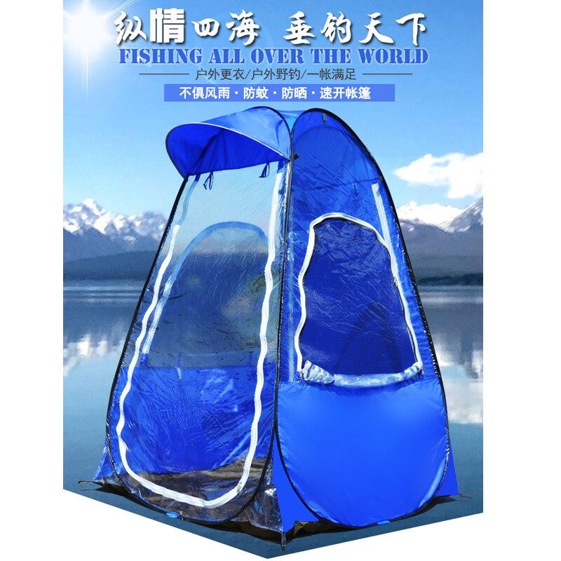 Einzelne person angeln Tragbare outdoor pop up zelt mit UV funktion 120*120*170CM eis angeln zelt mit einem sonnenschirm kappe