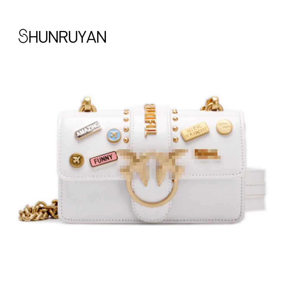 SHUNRUYAN 2018 New Luxury Brand Design Genuine Leather Women for Bag Chain Hasps Shoulder Bag Crossbody Bag Dress Bag lemon design chain bag