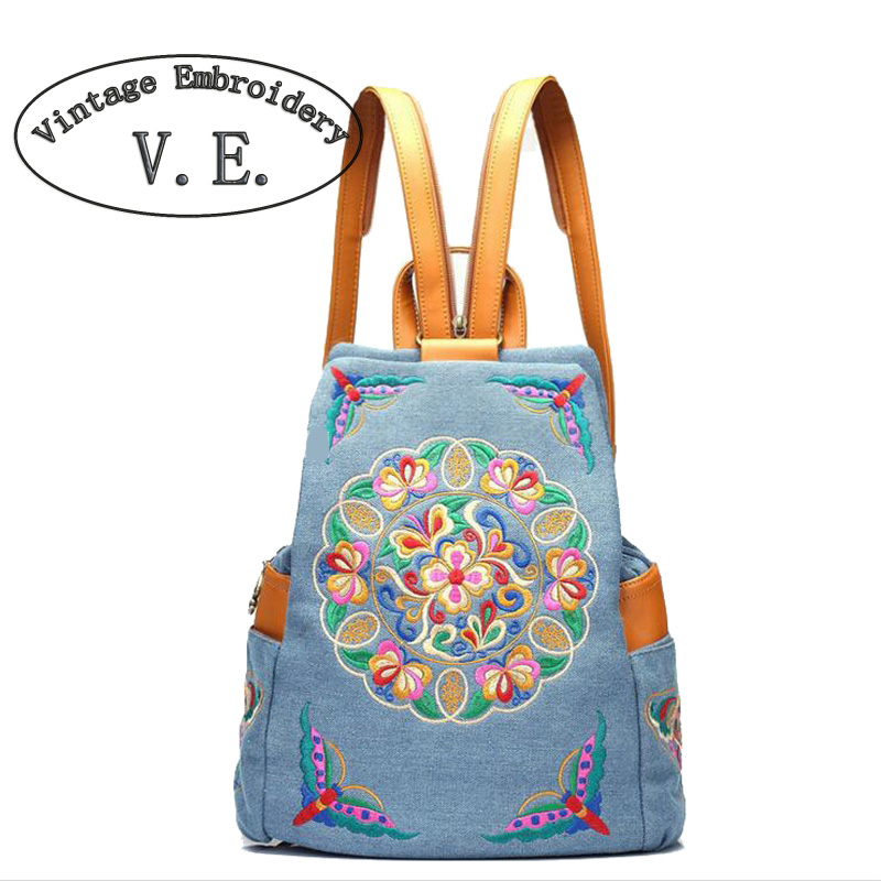 ФОТО 2017 New Fashion Embroidery Backpacks Women Cbackpack Ethnic Style Handmade School Travel Cotton Shoulder bag
