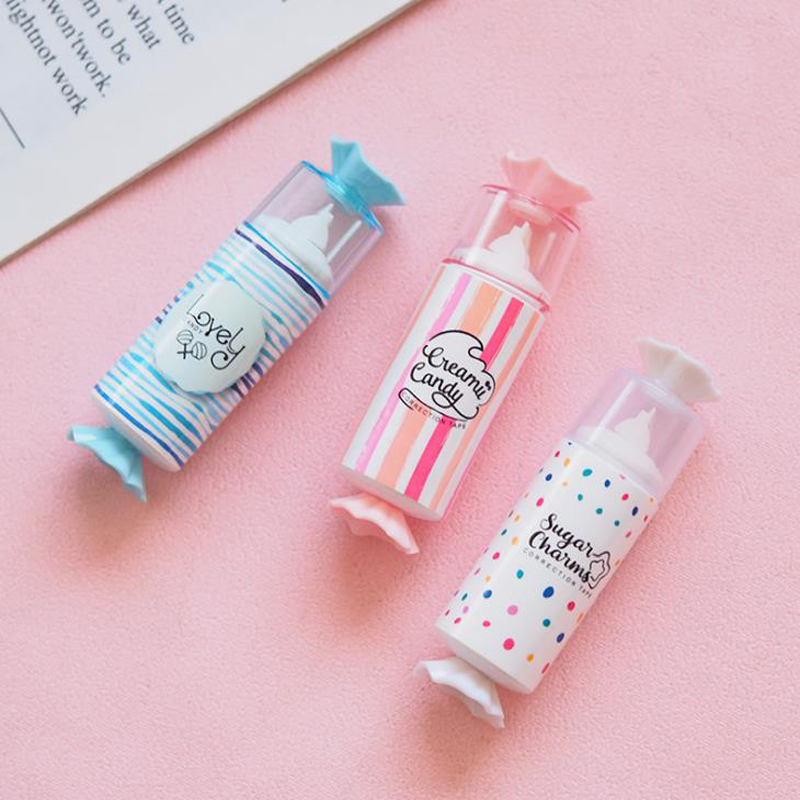 1 Pcs Kawaii Candy Shape Plastic Transparent Correction Tapes Colorful Corrector Tools School Office Stationery Students Gifts
