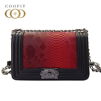 Coofit New Fashion Ladies Crossbody Bag Simple Flap PU Leather Patchwork Color Snake Pattern Shoulder Bag