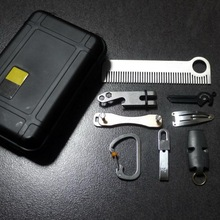 9pcs outdoor EDC multi-tool, waterproof box, tactical comb, keychain, dice, whistle, a whole set. Complete camping survival tool