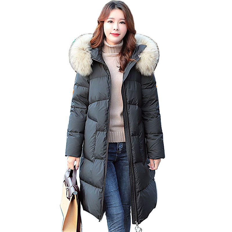New White Duck   Down     Coat   Women 2018 Winter   Down   Jacket Women   Coats   Long Thick Casual Ladies Jackets hooded warm   down   parkas