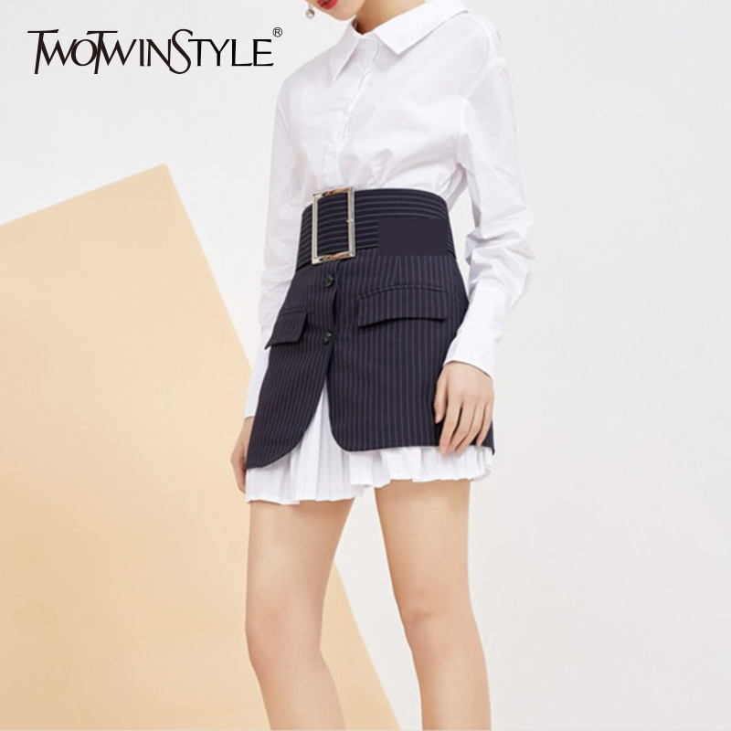 TWOTWINSTYLE Striped Skirt Women's Suit Basic Long Shirt Dress With Sashes High Waist Irregular Mini Skirts Summer OL Clothing